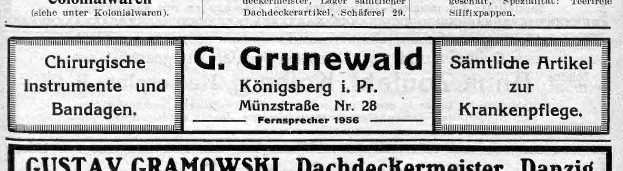 G. Grunewald surgical supply                 advertisement